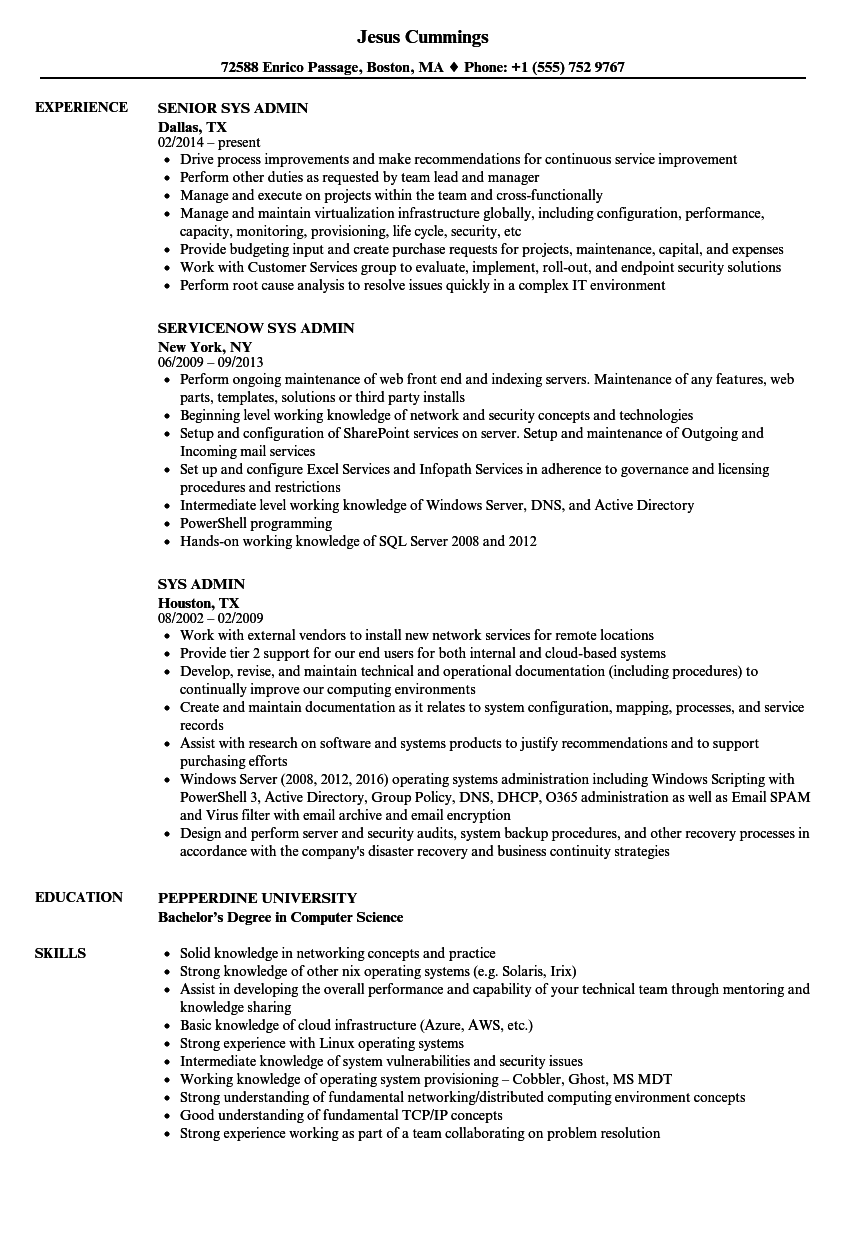 sys admin resume samples