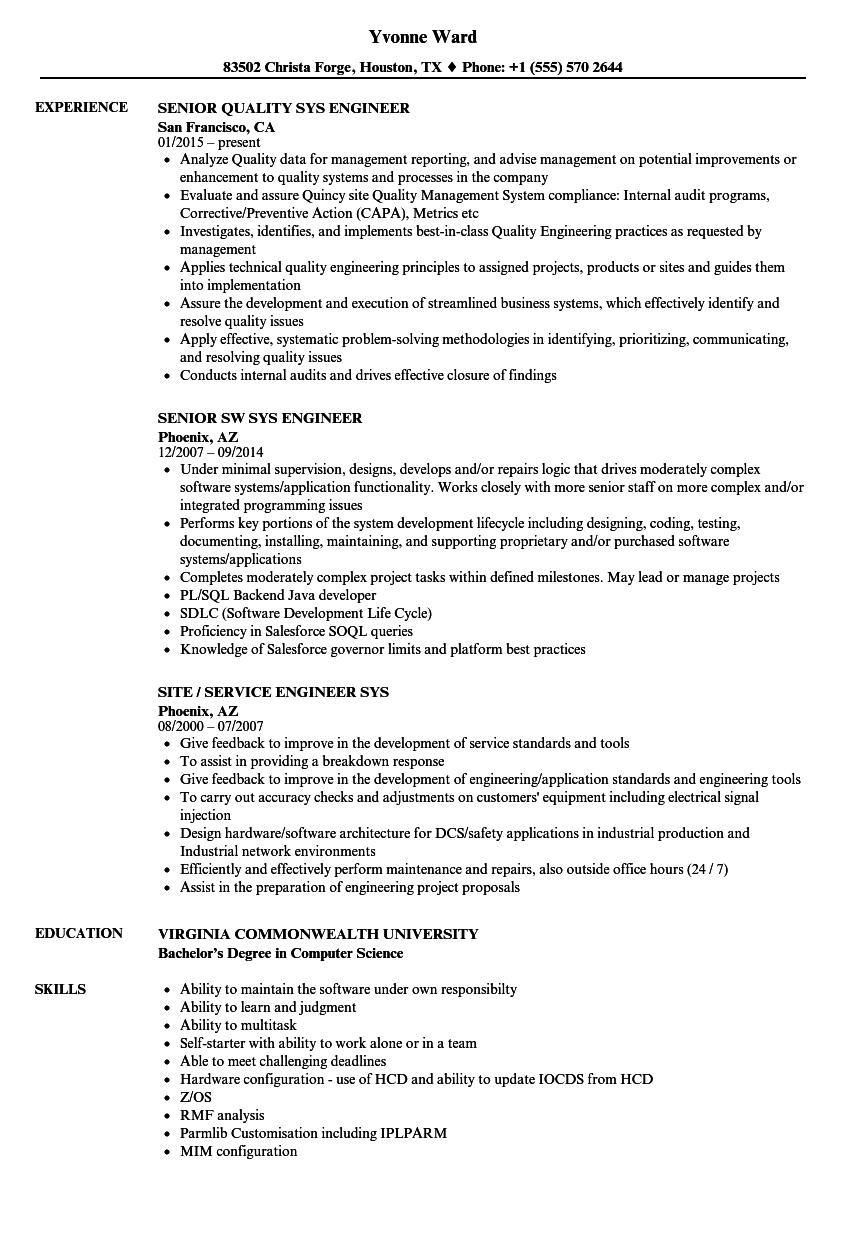 sys engineer resume samples