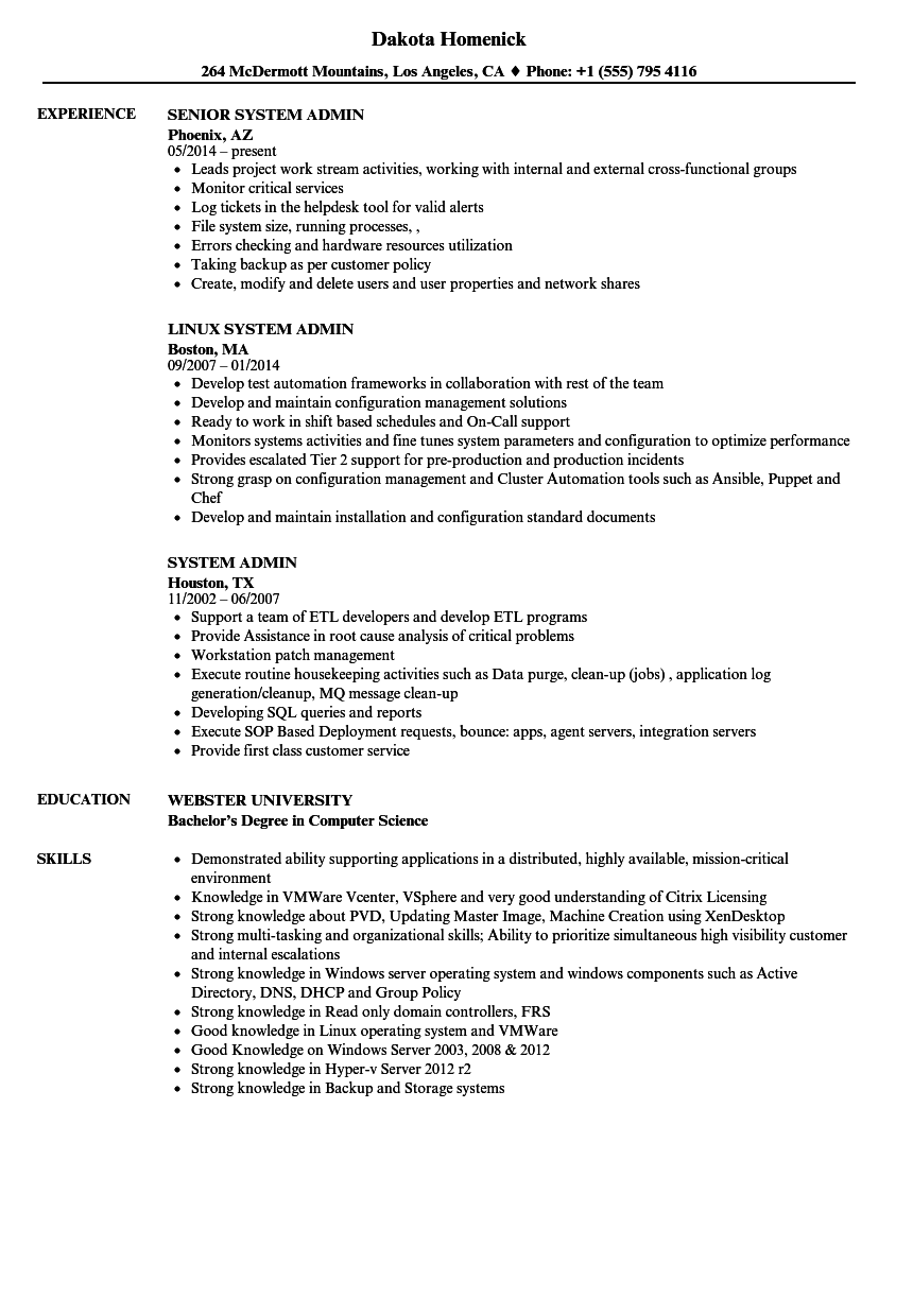 Download System Admin Resume Sample As Image File  System Admin Resume
