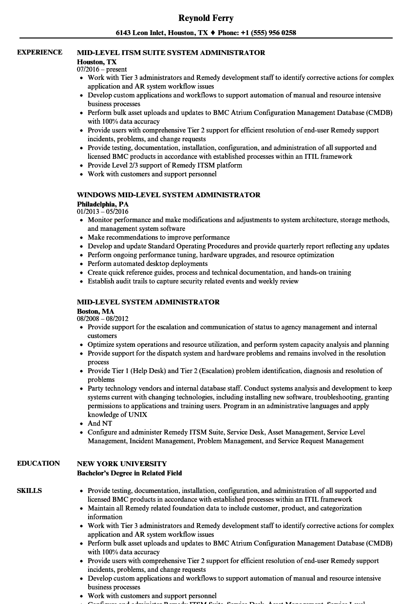 system administrator  mid resume samples