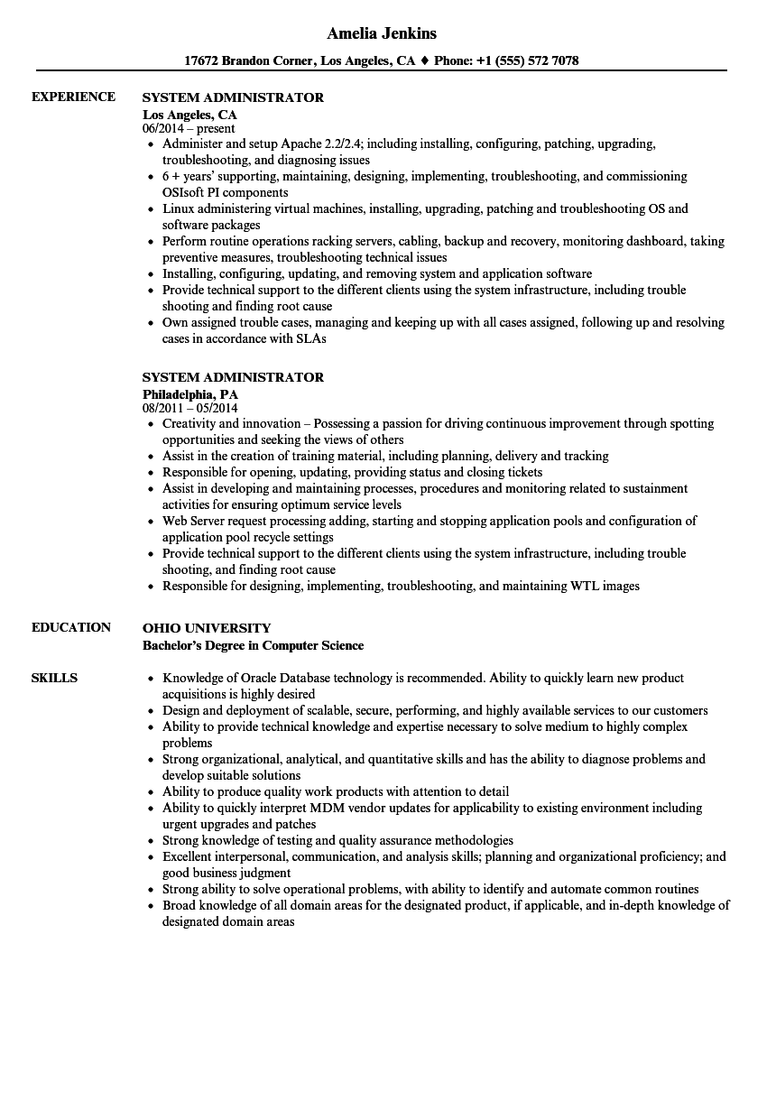 System Administrator Resume Samples Velvet Jobs