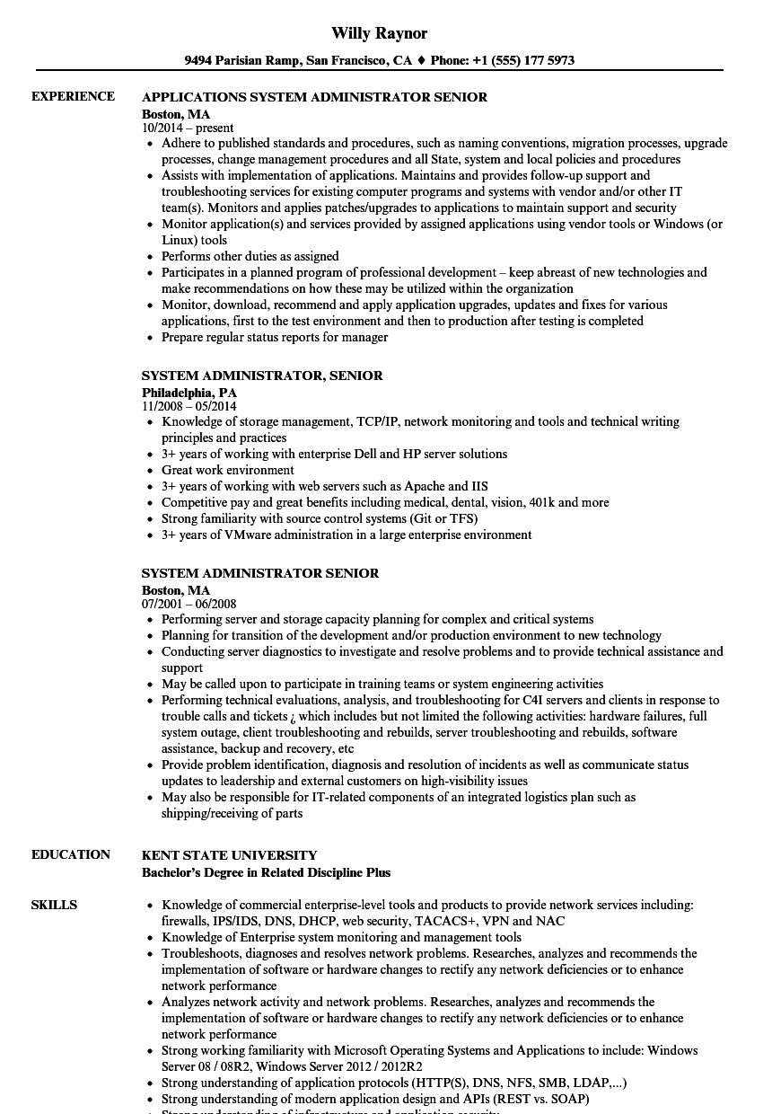 system administrator  senior resume samples