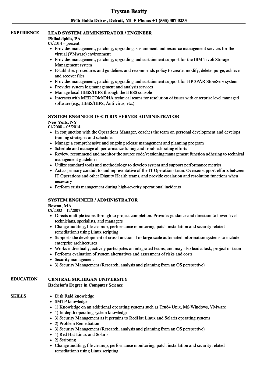 System Administrator System Engineer Resume Samples Velvet Jobs