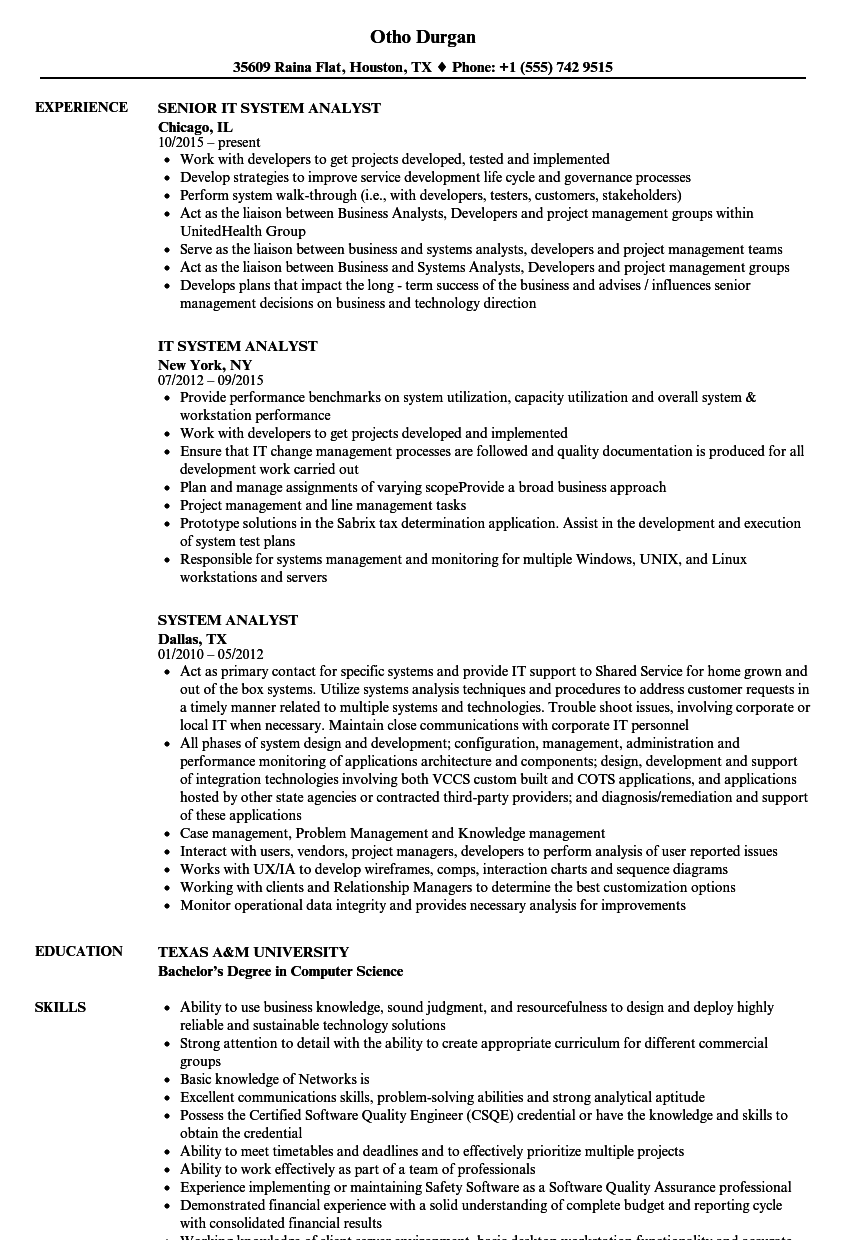 system analyst resume samples