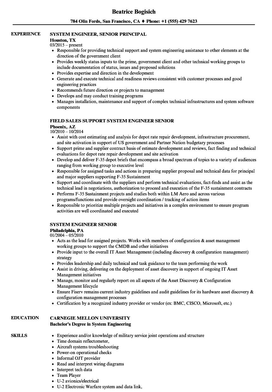 System Engineer Senior Resume Samples Velvet Jobs Engineering Diagrams Download Sample As Image File