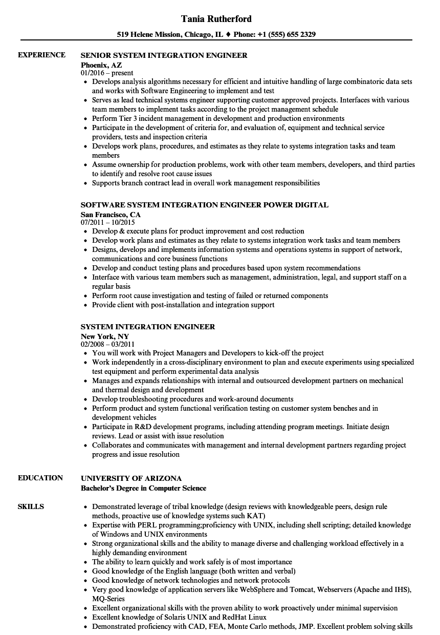 system integration engineer resume samples