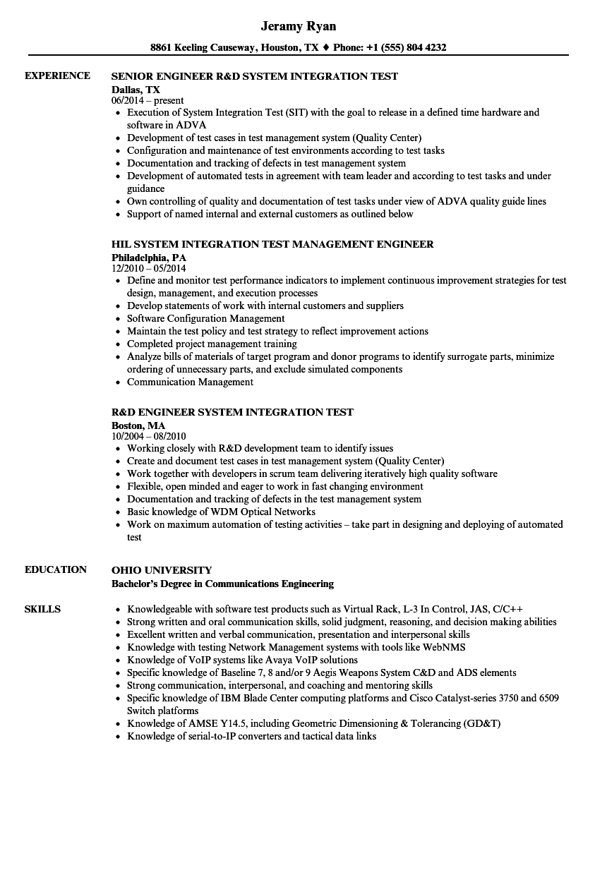 system integration resume samples