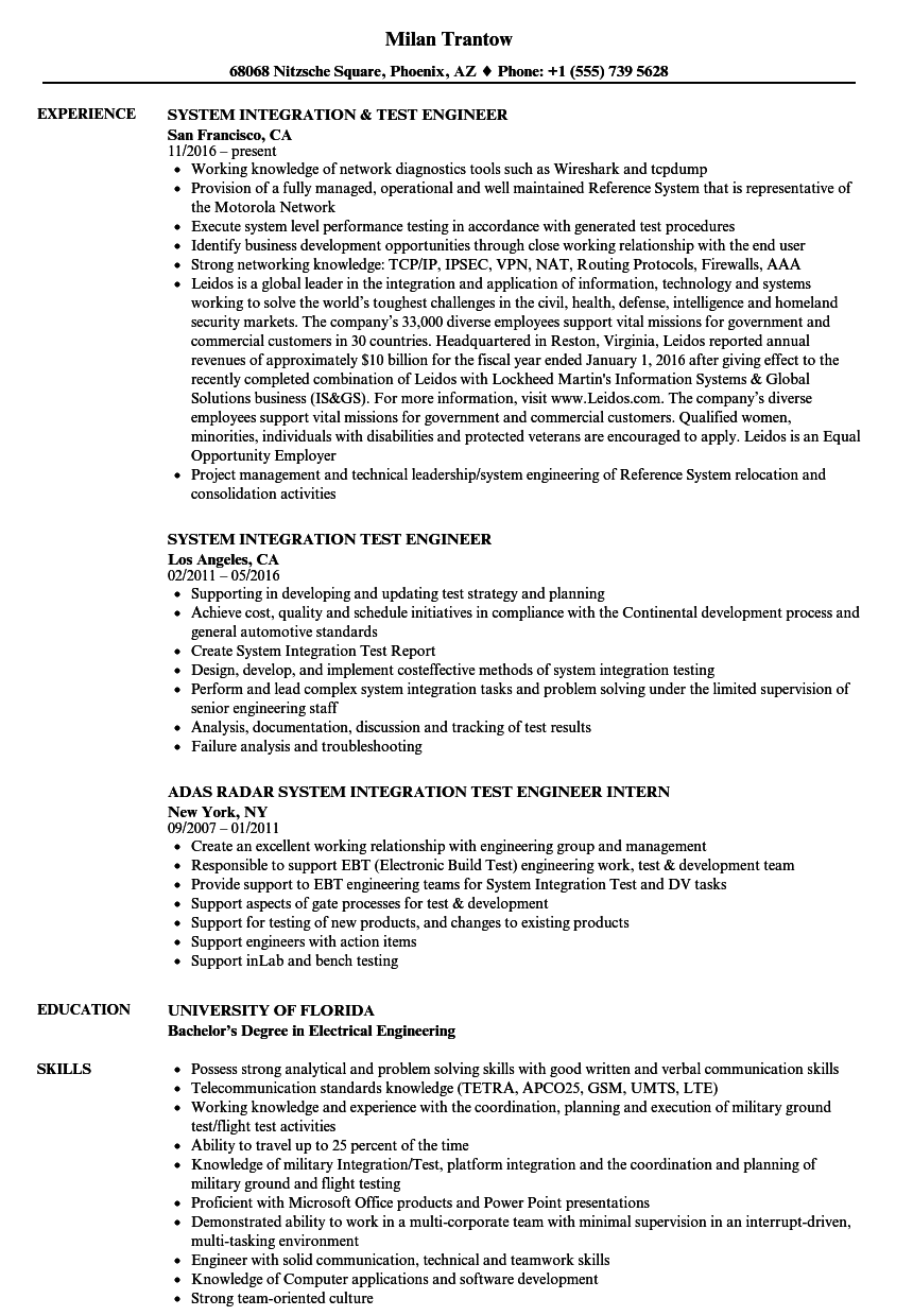 system integration  u0026 test engineer resume samples