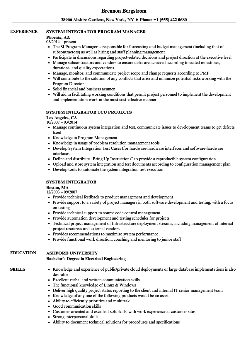 system integrator resume samples