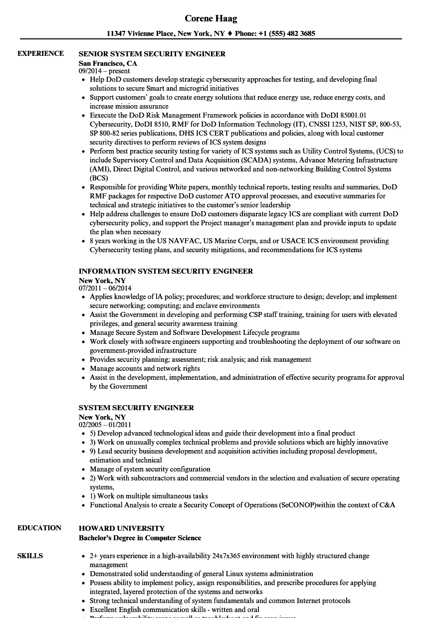 System Security Engineer Resume Samples | Velvet Jobs
