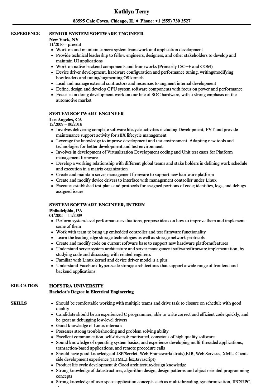 System Software Engineer Resume Samples | Velvet Jobs