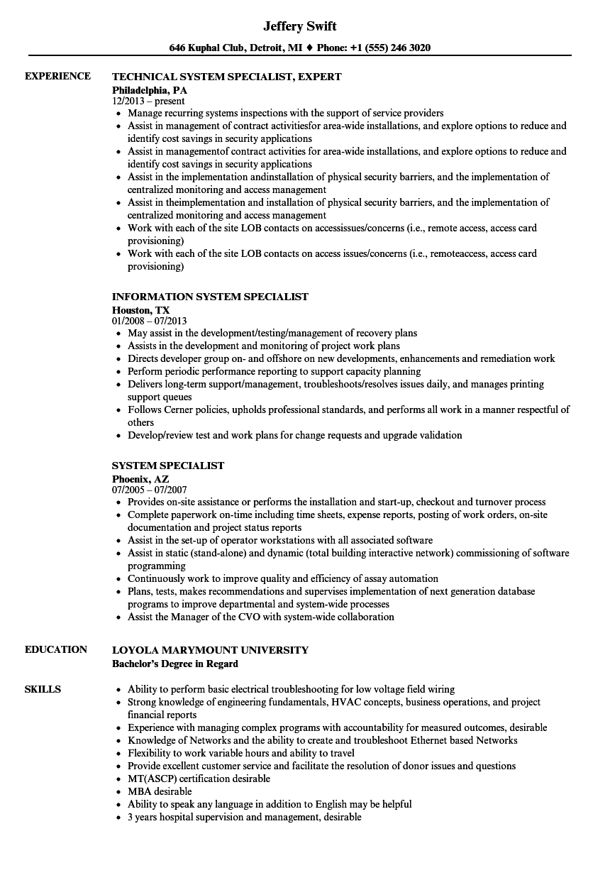 Download System Specialist Resume Sample As Image File