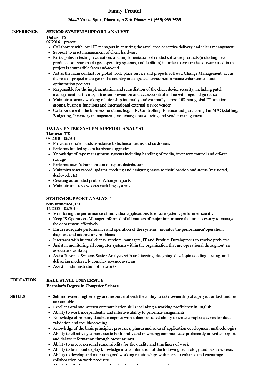 System Support Analyst Resume Samples Velvet Jobs