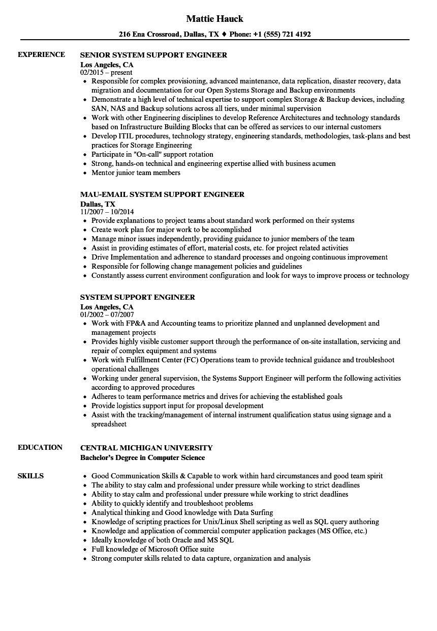 System Support Engineer Resume Samples Velvet Jobs