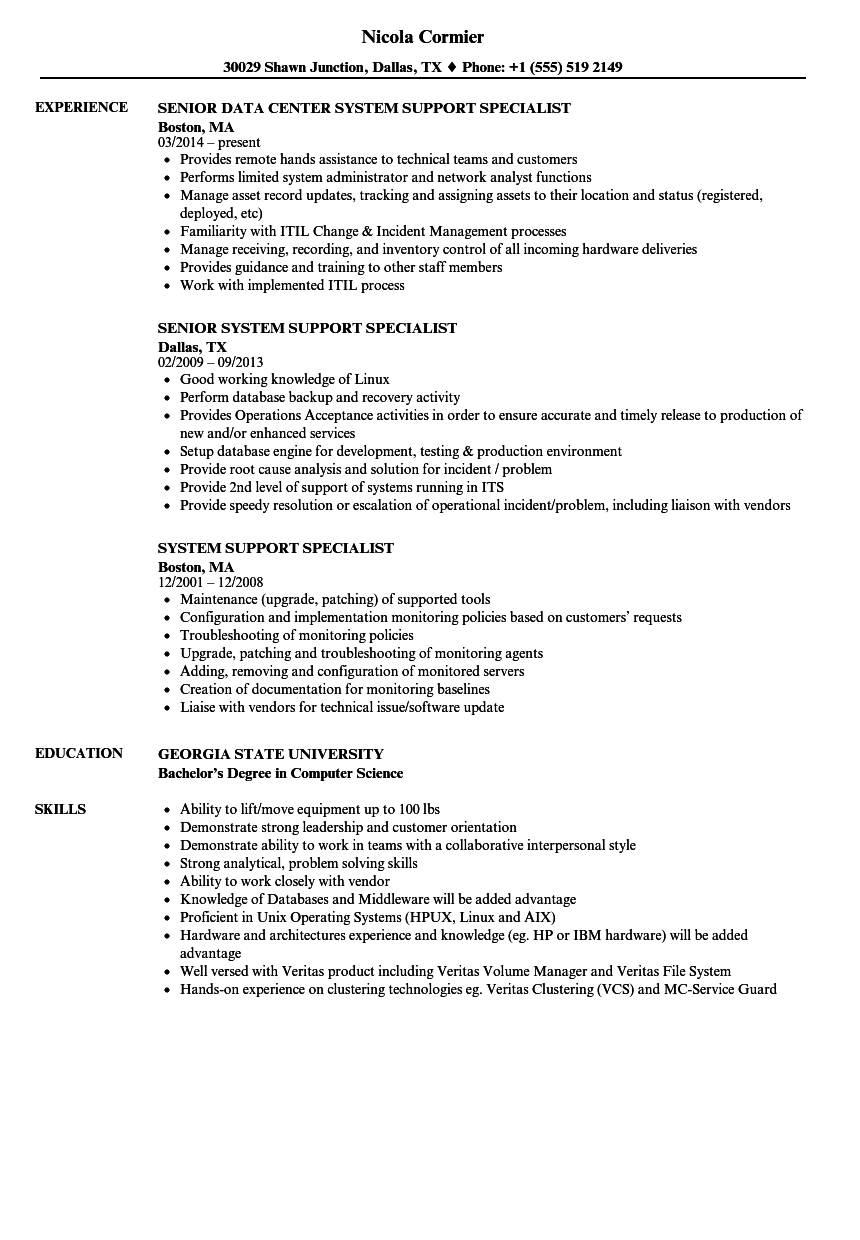 system support specialist resume samples