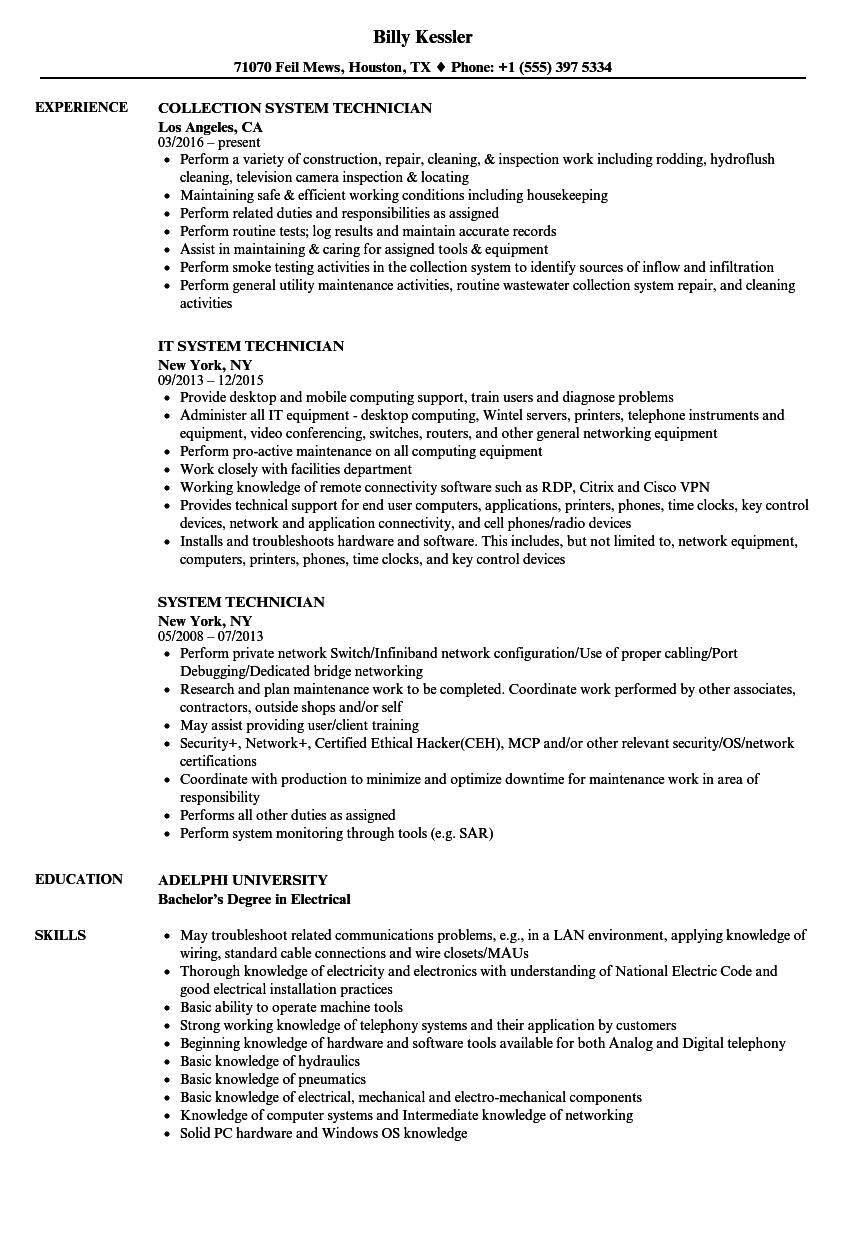 system technician resume - Wastewater Technician Resume Sample