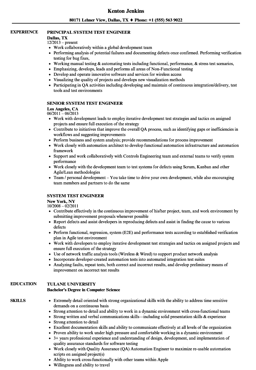 system test engineer resume samples