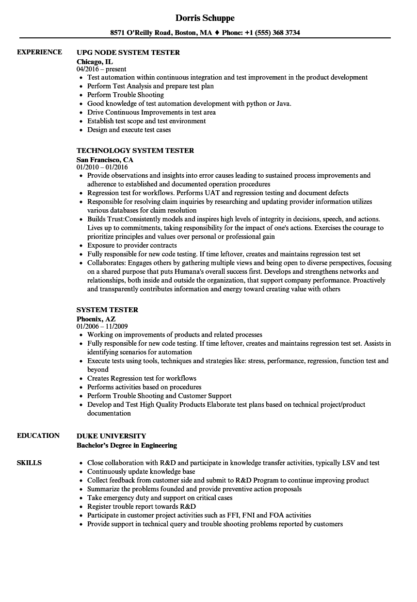 System Tester Resume Samples | Velvet Jobs