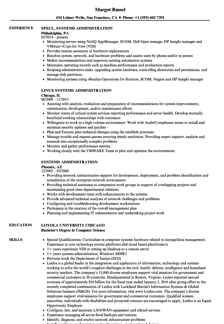systems administration resume samples