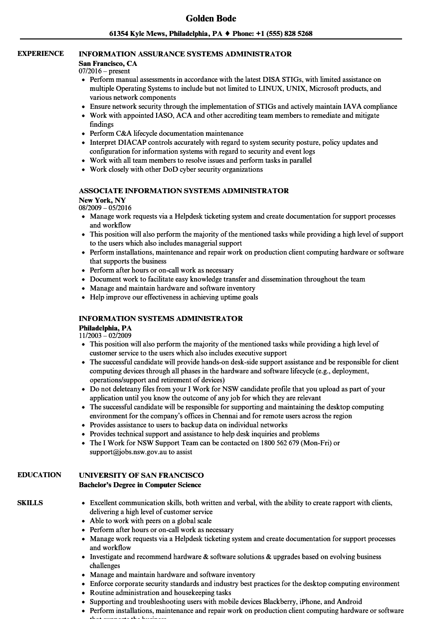 systems administrator  information systems resume