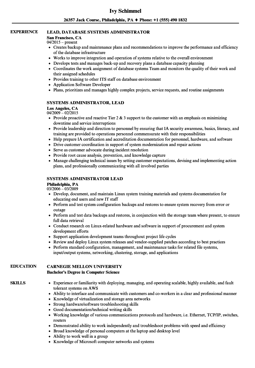 systems administrator  lead resume samples