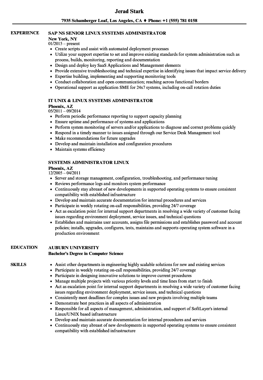 Systems Administrator Linux Resume Samples Velvet Jobs