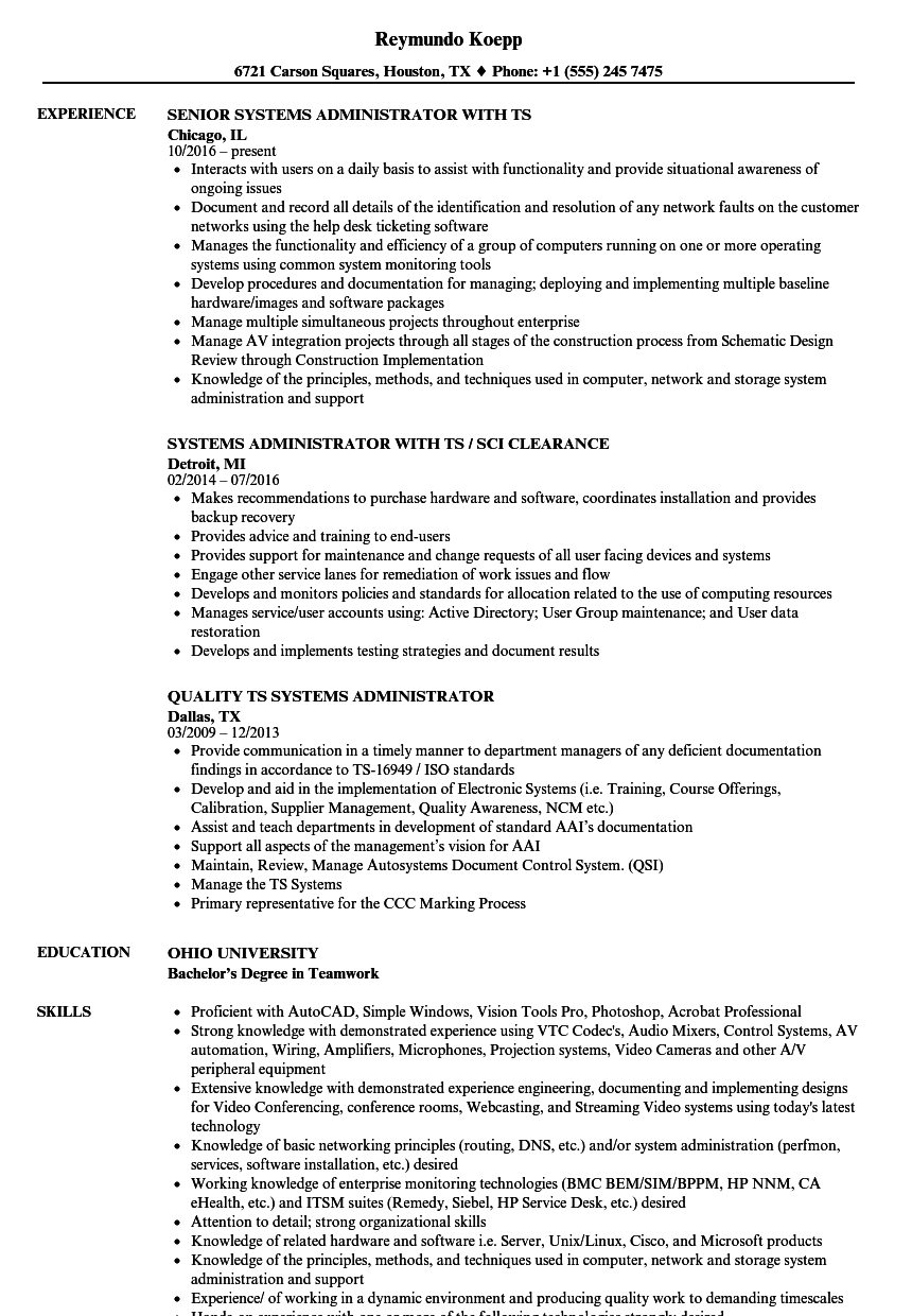 systems administrator  ts resume samples
