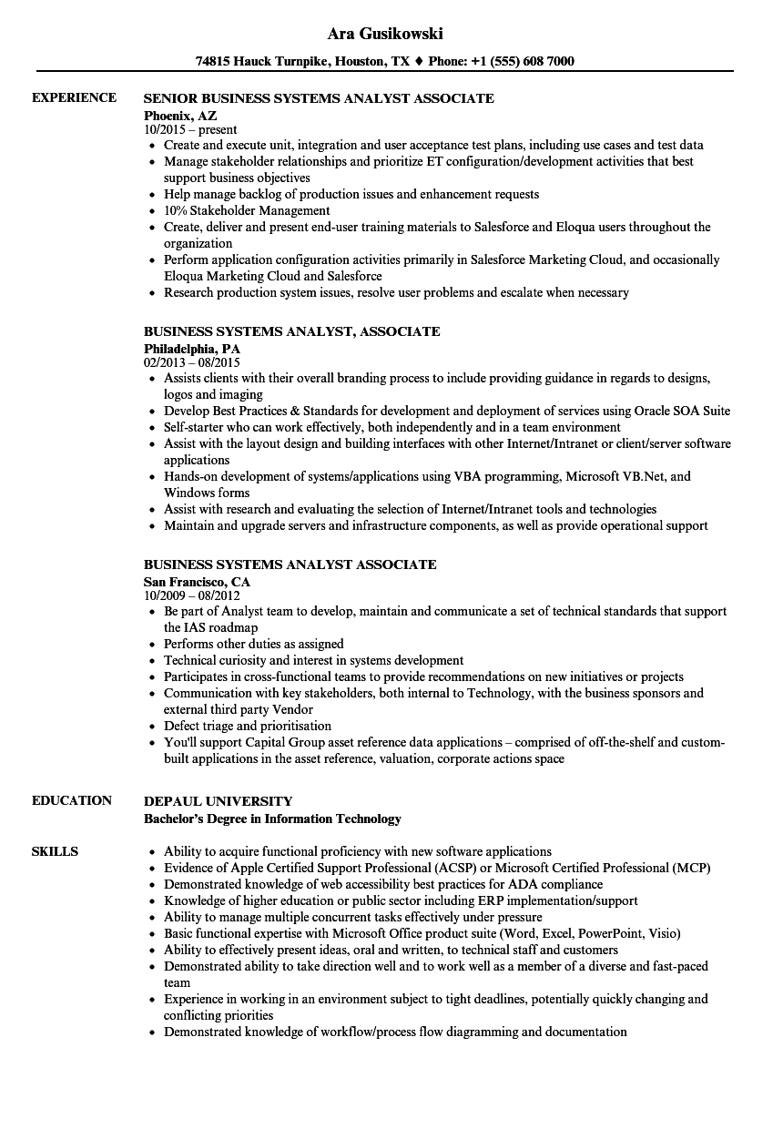 download systems analyst associate resume sample as image file - Associate Analyst Sample Resume