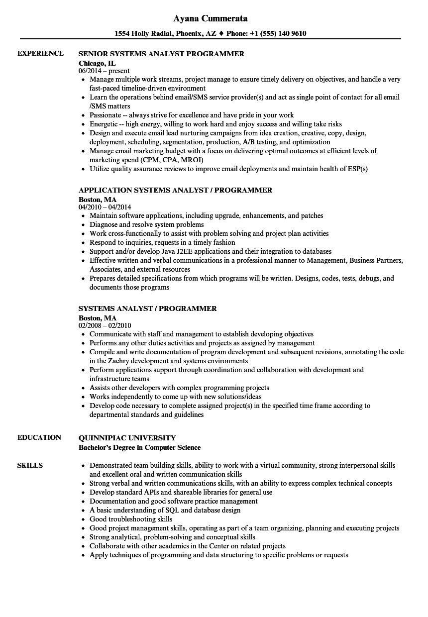 systems analyst    programmer resume samples