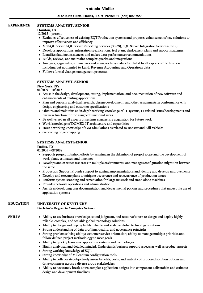 download systems analyst senior resume sample as image file sample resume for system analyst - System Analyst Sample Resume