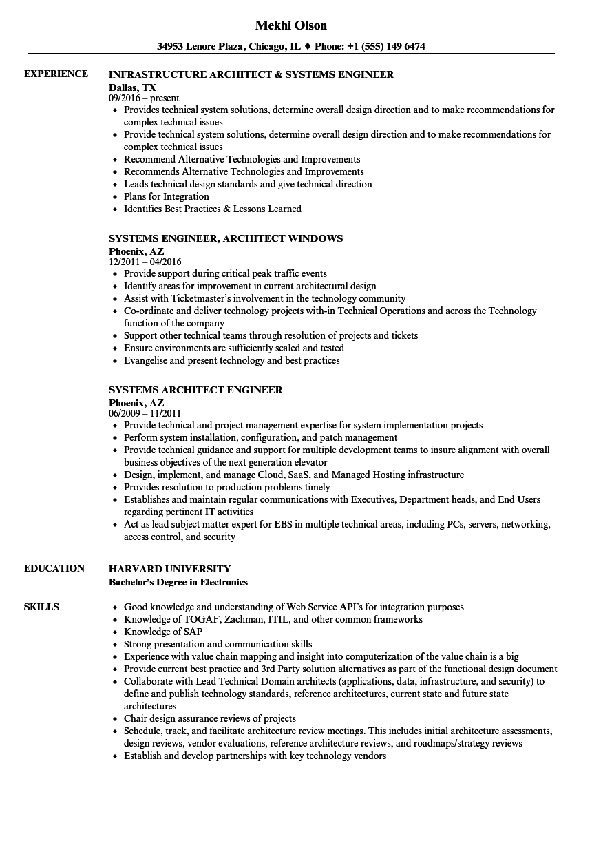 Download Systems Architect Engineer Resume Sample As Image File