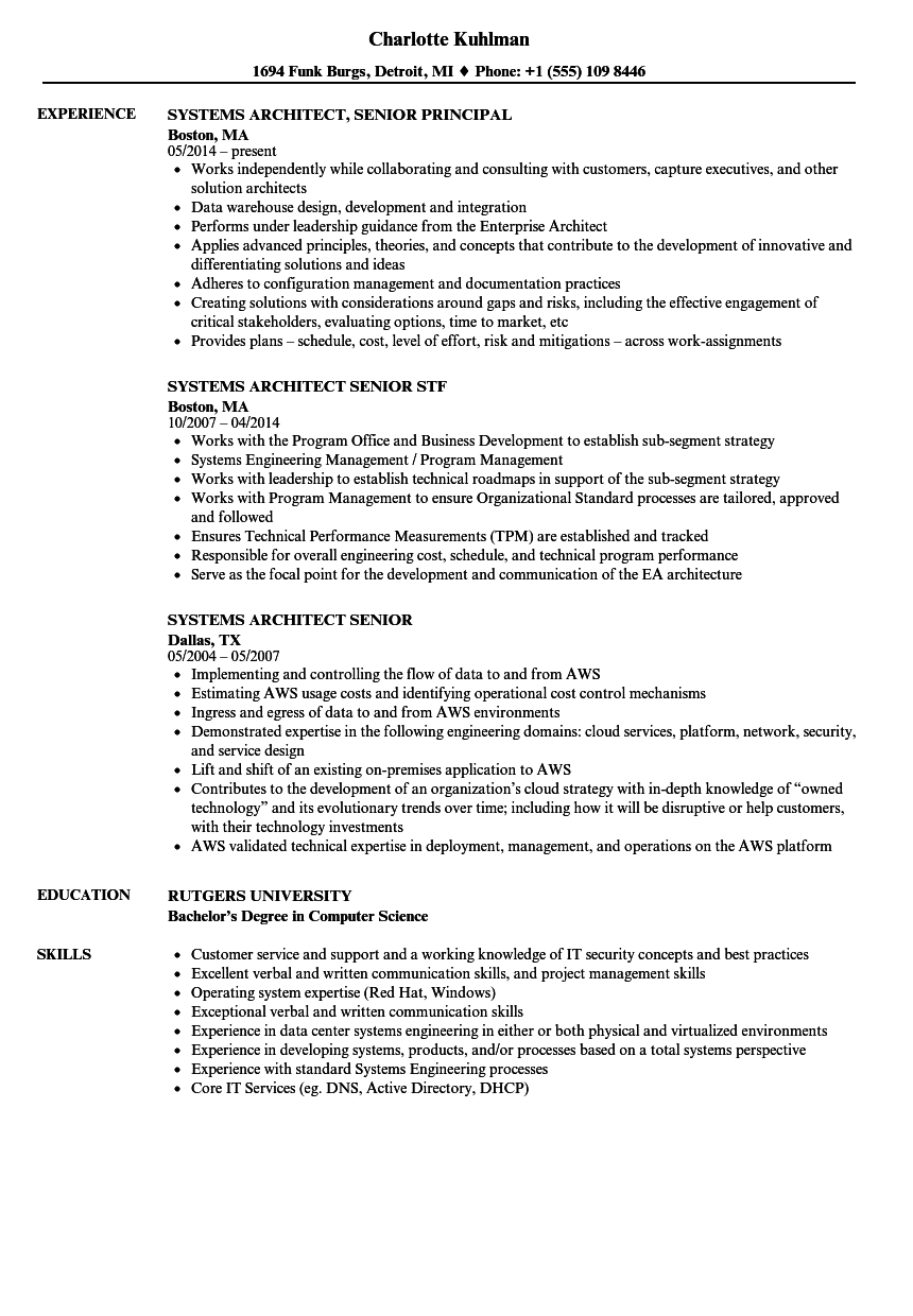 systems architect senior resume samples