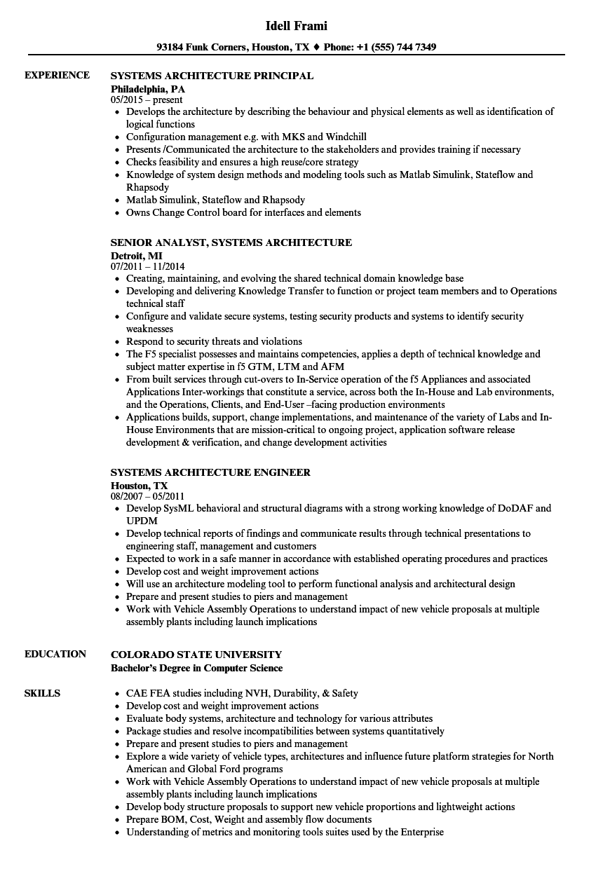 Systems Architecture Resume Samples | Velvet Jobs
