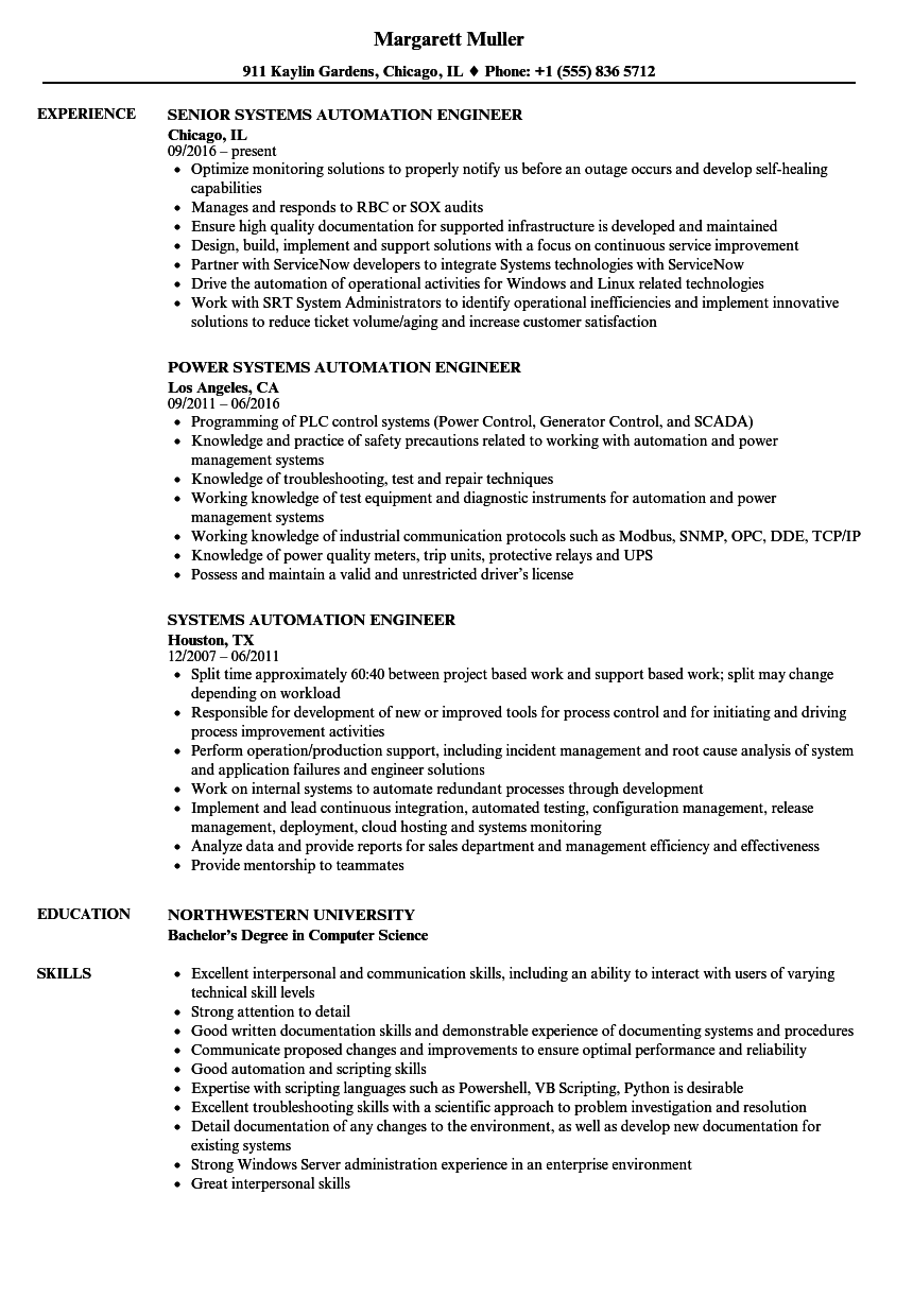 Systems Automation Engineer Resume Samples Velvet Jobs