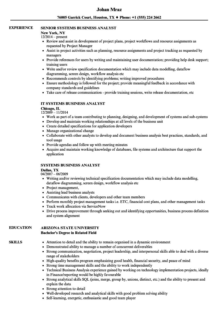 technical business analyst resume