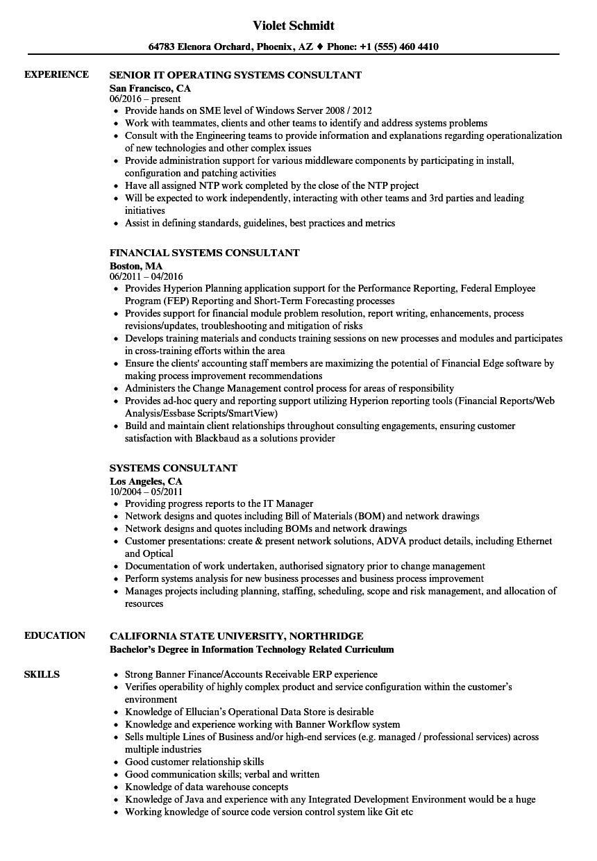 Systems Consultant Resume Samples Velvet Jobs