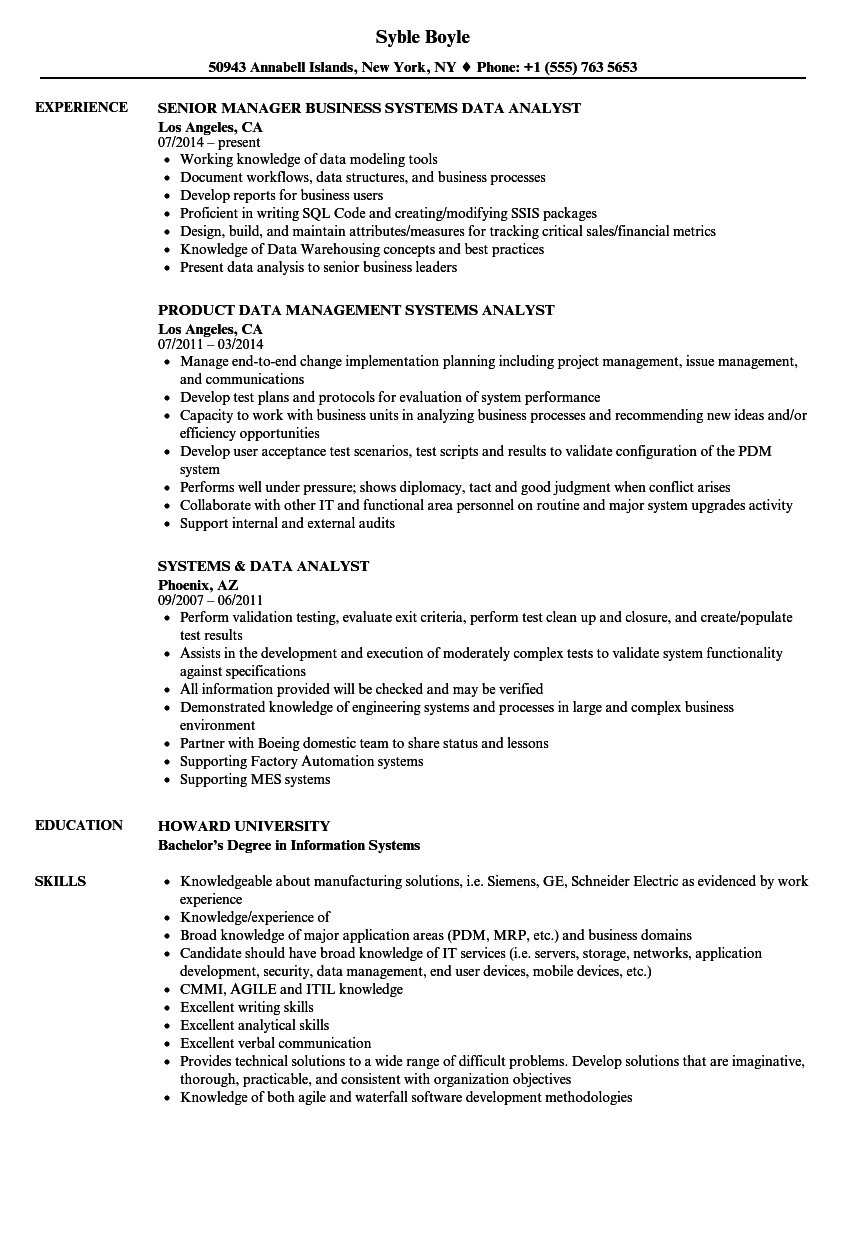 Systems Data Analyst Resume Samples