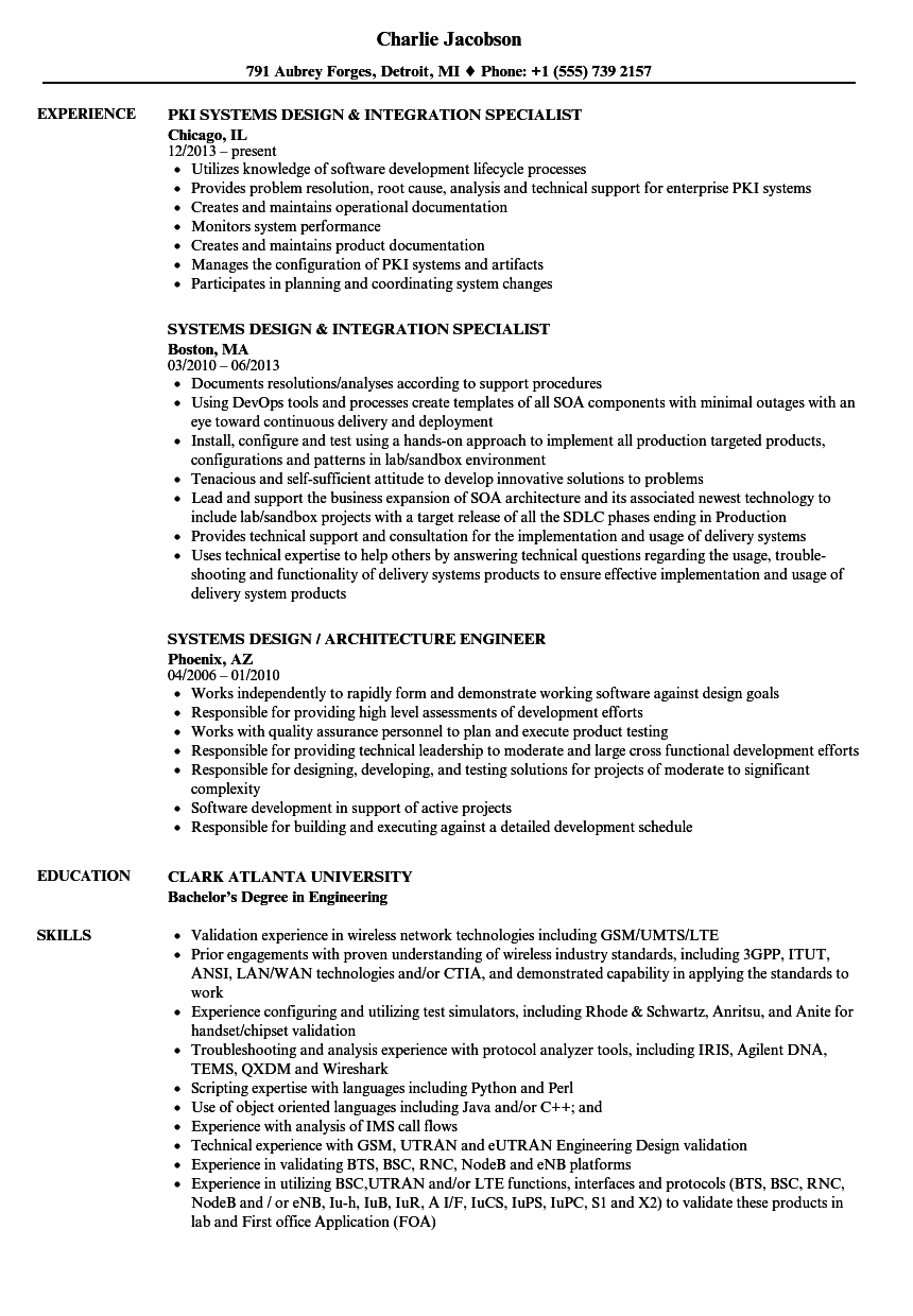 systems design resume samples