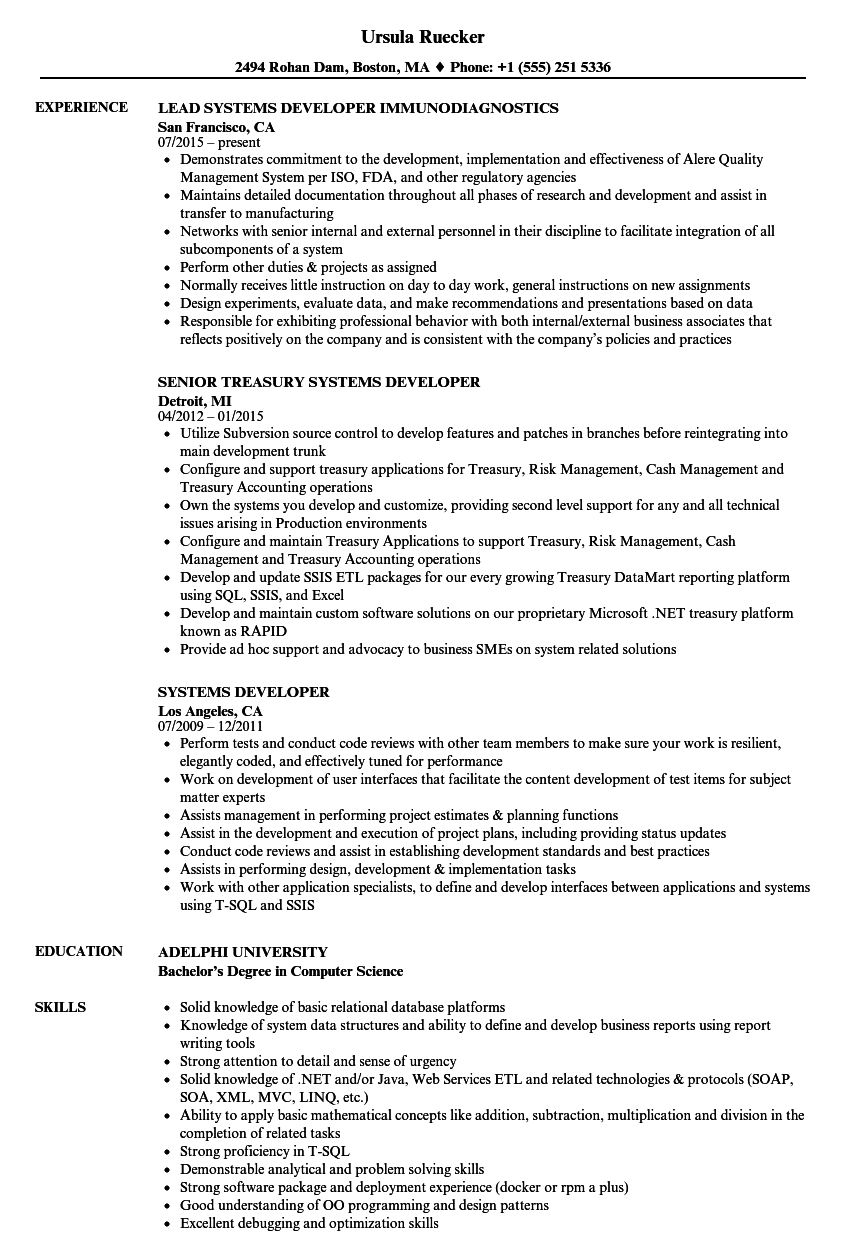 Systems Developer Resume Samples | Velvet Jobs