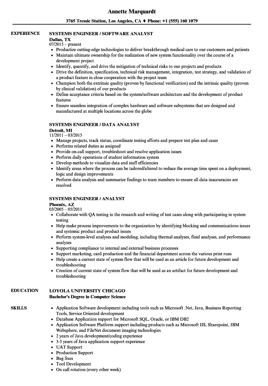 Systems Engineer / Analyst Resume Samples | Velvet Jobs
