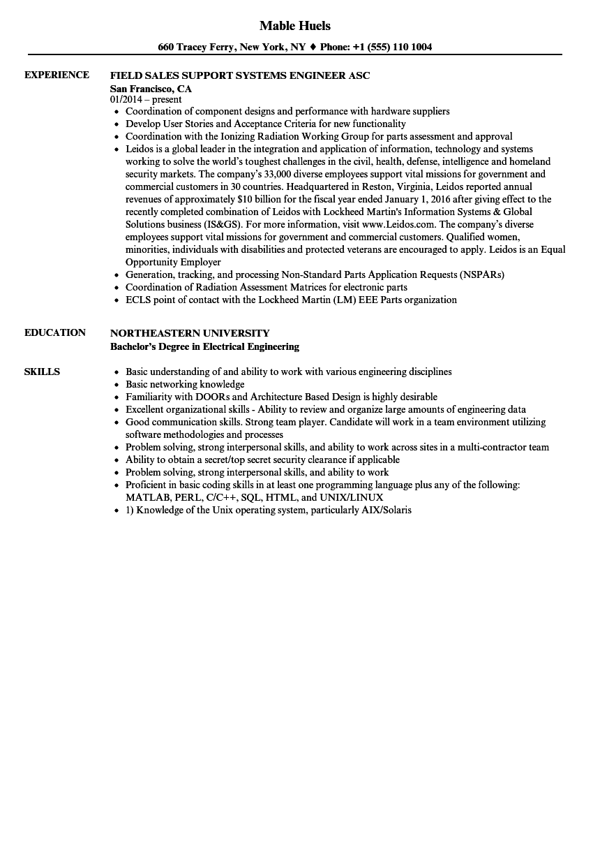 Systems Engineer Asc Resume Samples Velvet Jobs