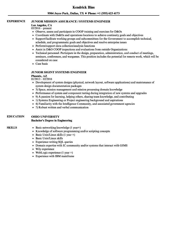 systems engineer junior resume samples velvet jobs