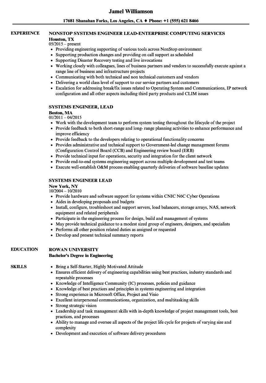 systems engineer  lead resume samples