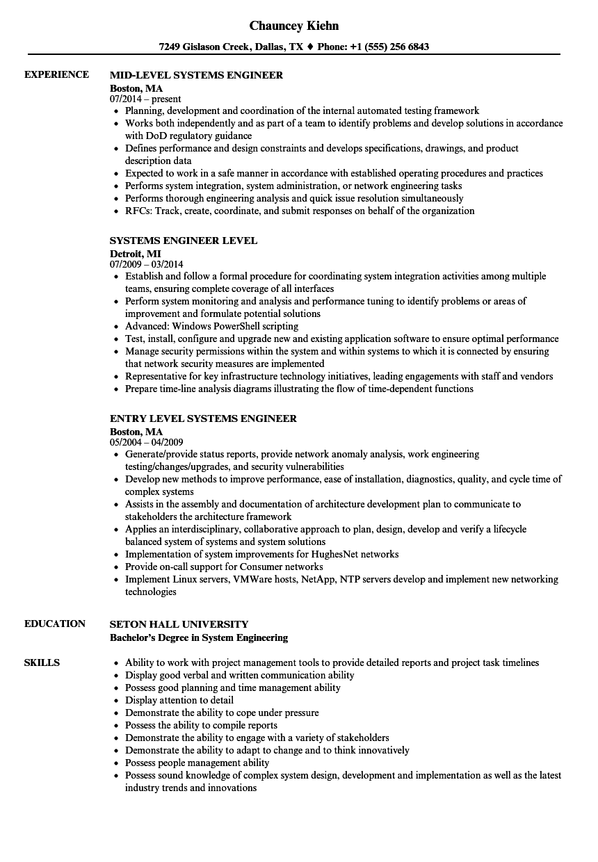 entry level systems engineer resume
