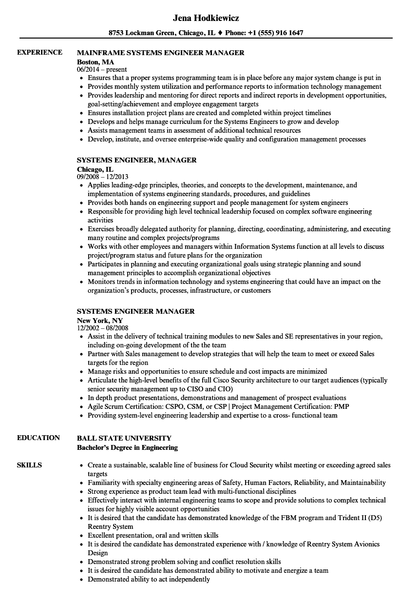 systems engineer manager resume samples