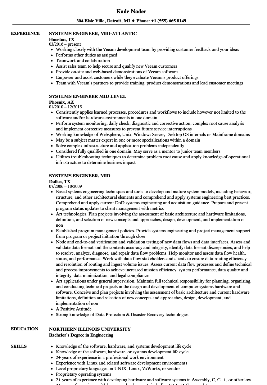 systems engineer  mid resume samples