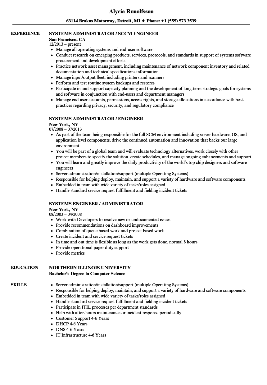 Systems engineer systems administrator resume samples velvet jobs related job titles xflitez Choice Image
