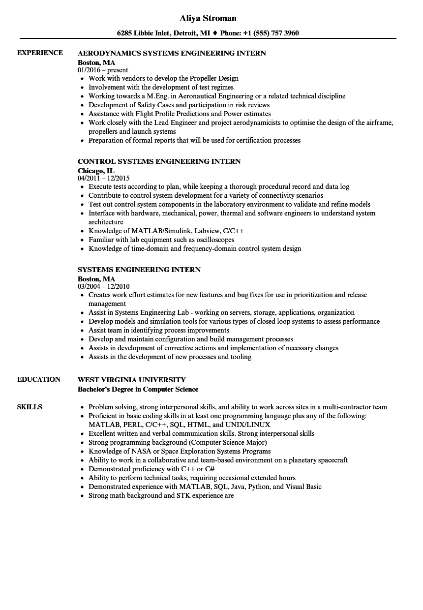 Systems Engineering Intern Resume Samples Velvet Jobs