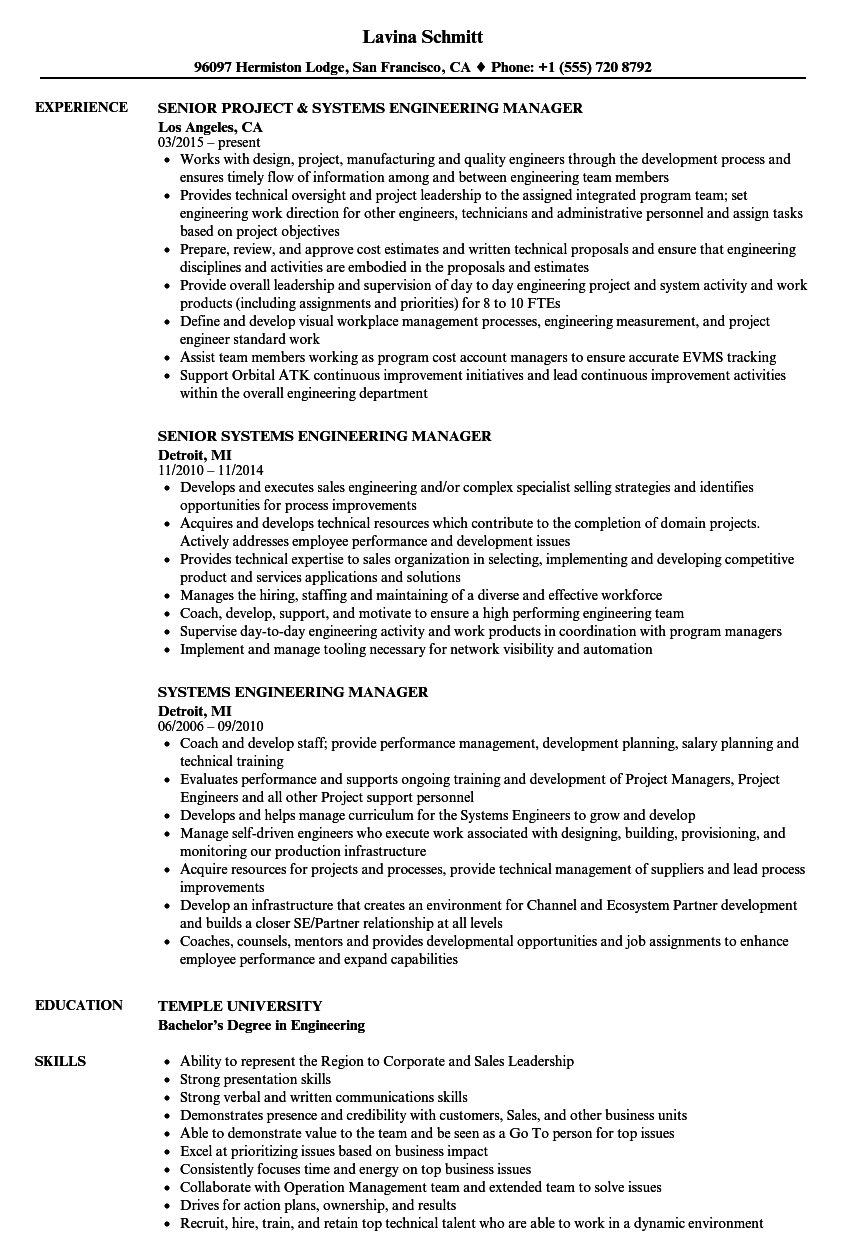 systems engineering manager resume samples
