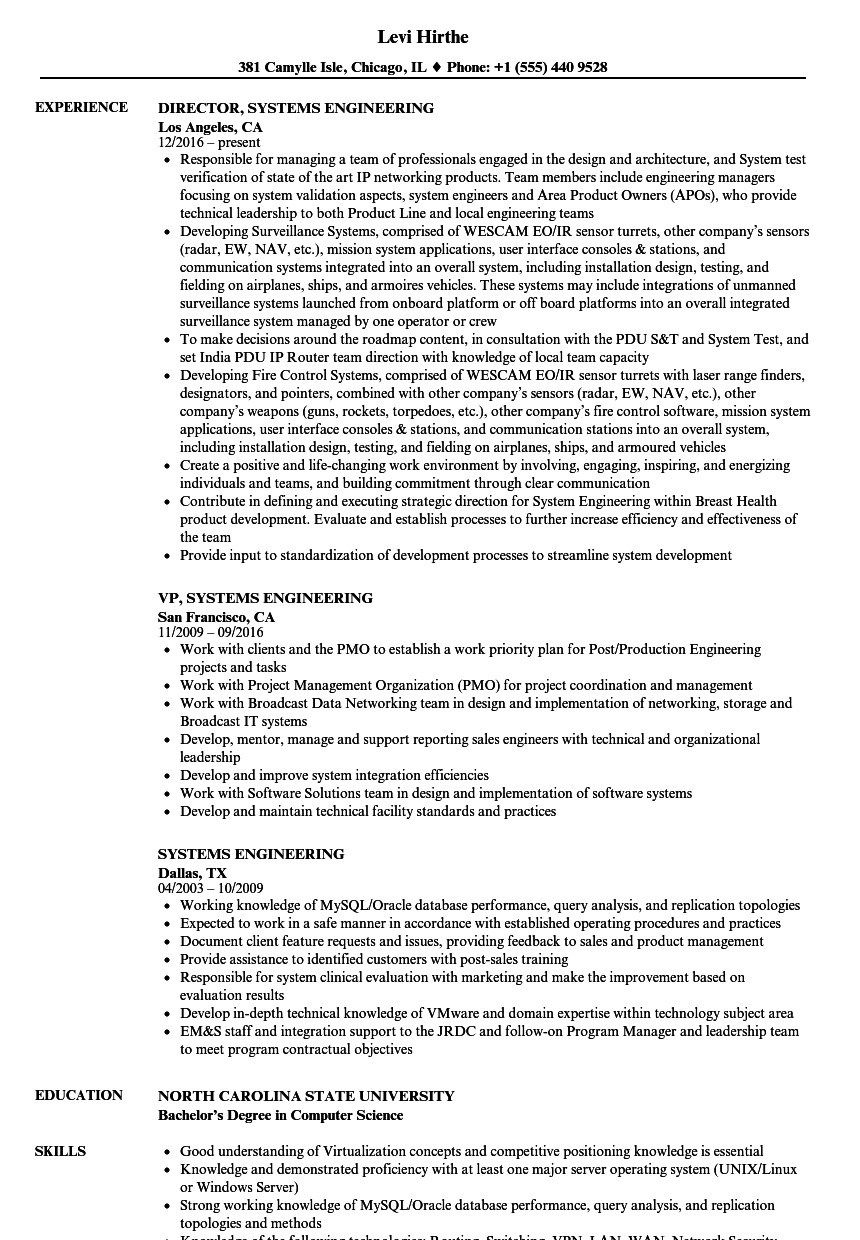 Systems Engineering Resume Samples | Velvet Jobs